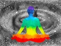 stelt de menselijke lotusbloem van 7 kleurenchakra yoga, abstracte wereld, heelal vector illustratie