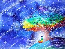 stelt de menselijke lotusbloem van 7 kleurenchakra yoga, abstracte wereld, heelal royalty-vrije illustratie