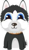 Stelt de Siberische schor hond van het beeldverhaalkarakter Royalty-vrije Stock Afbeeldingen