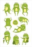 Stelt het kikker Leuke Karakter in Verschillend Kinderachtige Stickers vector illustratie