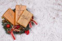 Stelt in Kerstmiskroon voor op bont royalty-vrije stock foto's