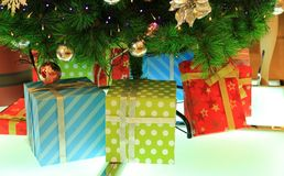 Stelt onder Kerstmisboom voor Royalty-vrije Stock Afbeelding