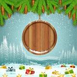 Stelt op het landschap van de de wintervorst met ronde houten grens van sparrentak voor Stock Afbeeldingen