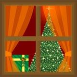 Stelt thuis voor en Kerstmisboom stock illustratie