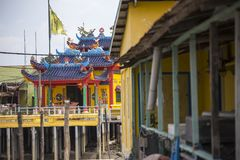 Stelthuizen bij Chinees visserijdorp in Pulau Ketam dichtbij Klang Selangor Maleisië stock foto's