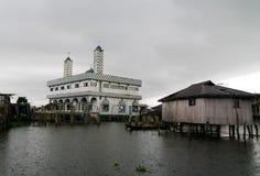 Stelthuizen en moskee in het dorp van Ganvie op het Nokoue-meer, Benin stock fotografie