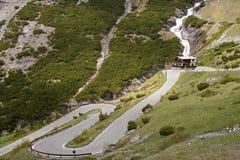 Stelvio通行证,山口在北意大利, elevati的 免版税库存图片