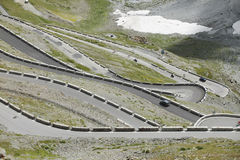 Stelvio Pass. Top view of switchbacks before arriving at the Stelvio Pass in Italy Stock Photo