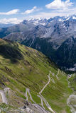 Stelvio Pass - famous serpentine road. Hard mountain road in the Tyrol Alps Royalty Free Stock Photography