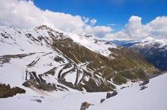 Stelvio Pass i vinter, södra Tyrol Fotografering för Bildbyråer