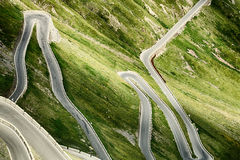Stelvio Pass Road with Hairpins Stock Images