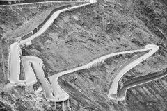 The Stelvio Road bends. Black and white photo Royalty Free Stock Photo