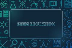 STEM blue horizontal frame. Vector science outline illustration. STEM blue horizontal frame with empty space for text. Vector science creative outline royalty free illustration