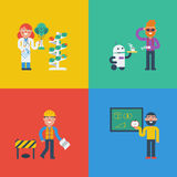 STEM characters concept. STEM - science, technology, engineering and mathematics in cute characters concept Stock Photos