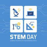 STEM day promotional design. And social media post: science, technology, engineering and math
