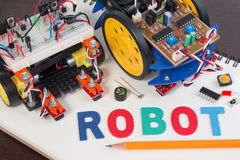 STEM or DIY Electronic Kit , Line tracking robot competition ideas. Closeup Stock Photography