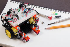 STEM or DIY Electronic Kit , Line tracking robot competition ideas. Closeup royalty free stock photos