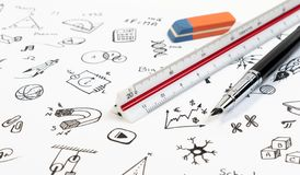STEM education background concept. STEM - science, technology, engineering and mathematics background with pen, ruler and doodle. STEM education background stock photo