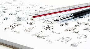STEM education background concept. STEM - science, technology, engineering and mathematics background with pen, ruler and doodle. STEM education background stock images