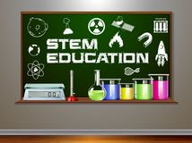 STEM education on blackboard stock illustration
