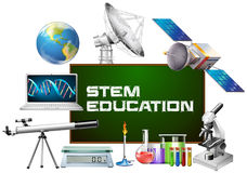 Stem education on board and different devices. Illustration Royalty Free Stock Image