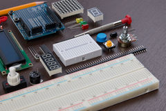 STEM education or DIY Electronic Kit , Robot made on base of micro controller with variety of sensor and tools. Closeup. stock photo