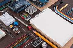 STEM education or DIY Electronic Kit , Robot made on base of micro controller with variety of sensor and tools. Closeup. Royalty Free Stock Photo