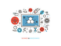 STEM education flat line illustration. Thin line flat design of STEM academic disciplines, science education and knowledge about life evolution, chemistry Stock Photo