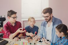 Stem education. Physical experiments at school Royalty Free Stock Images