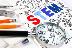 STEM education. Science Technology Engineering Mathematics. STEM concept with drawing background royalty free stock photo