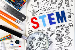 STEM education. Science Technology Engineering Mathematics. STEM concept with drawing background stock photos