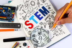 STEM education. Science Technology Engineering Mathematics. STEM concept with drawing background. Education background royalty free stock images