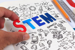 STEM education. Science Technology Engineering Mathematics. STEM concept with drawing background. STEM education background royalty free stock photography