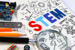 STEM education. Science Technology Engineering Mathematics. STEM concept with drawing background. Education background Royalty Free Stock Photos