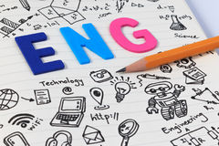 STEM education. Science Technology Engineering Mathematics. STEM concept with drawing background. STEM education background