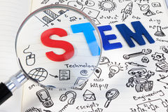 STEM education. Science Technology Engineering Mathematics. STEM concept with drawing background. Hand with pencil writing on education background