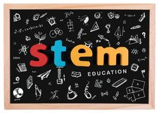 STEM Education. Science Technology Engineering Mathematics. STEM. Word on school blackboard with doodle education symbols for background royalty free stock photos