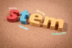 Science Technology Engineering Mathematics. STEM word on cork board with education equipment for background. STEM Education. Science Technology Engineering stock photos