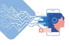 Stem hulp, mobiele app, Persoonlijke medewerker en het concepten vectorillustratie van de stemerkenning van soundwave intelligent royalty-vrije illustratie