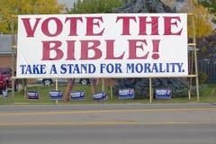 Stem over het teken van de de verkiezings 2004 campagne van de Bijbel Stock Afbeeldingen