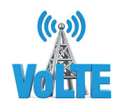 Stem over LTE-Teken met Geïsoleerd Metaalantenne Royalty-vrije Stock Foto