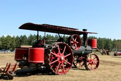 Stem Powered Tractor. Steam powered tractor on display at a vintage farm show royalty free stock photos