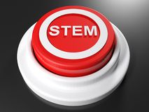 STEM red pushbutton - 3D rendering. A red pushbutton with the write STEM in a circle on its top - 3D rendering illustration Stock Photo