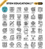 STEM science,technology,engineering,math education. Concept detailed line icons set in modern line icon style concept for ui, ux, web, app design Royalty Free Stock Photos