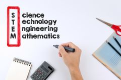 STEM - Science, Technology, Engineering, Mathematics education concept. Hand holding a black marker on white background royalty free stock images