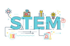 STEM - science, technology, engineering, mathematics. Illustration of STEM - science, technology, engineering, mathematics education word typography design with Royalty Free Stock Photo
