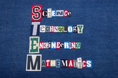 STEM SCIENCE TECHNOLOGY ENGINEERING and MATHEMATICS text word collage, colorful fabric on blue denim, education concept. Horizontal aspect royalty free stock photo