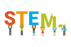 STEM team concept. STEM - science, technology, engineering and mathematics badge concept with icon in flat design Royalty Free Stock Photography