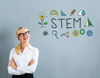 STEM text with business woman Stock Photography