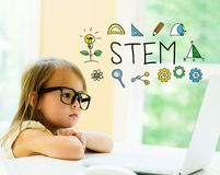STEM text with little girl royalty free stock photo